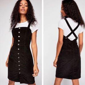 Free People Button Front Cord Jumper in Black